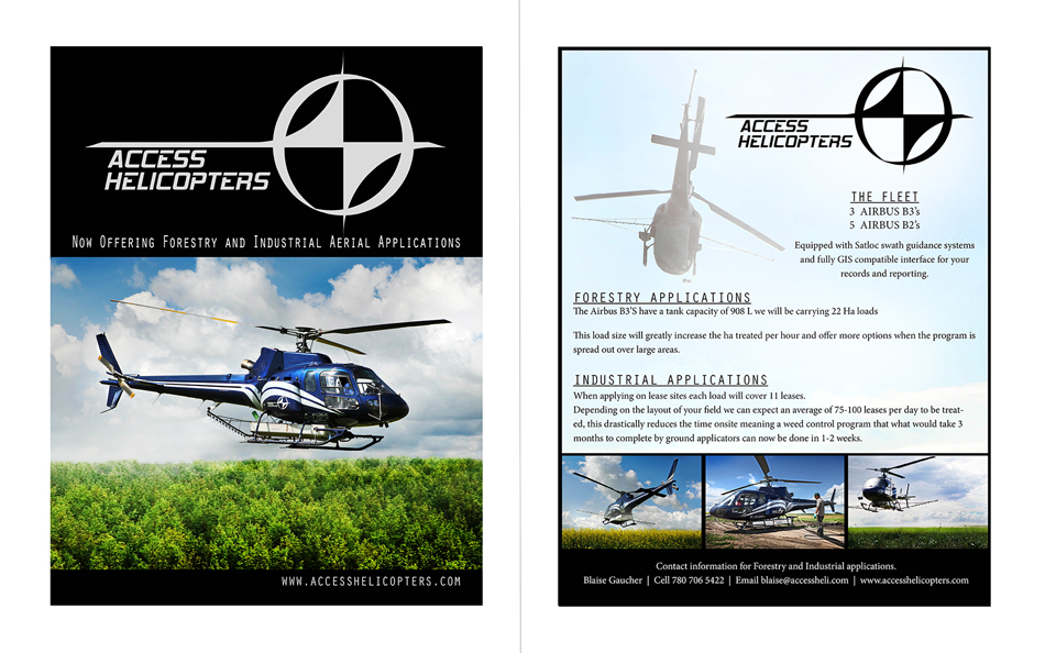 Double Sided Handouts - Access Helicopters, Okotoks, AB